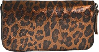 CTM Portafoglio da donna made in Italy, vera pelle con fantasia Animalier 19.5x10.5x2.5 Cm