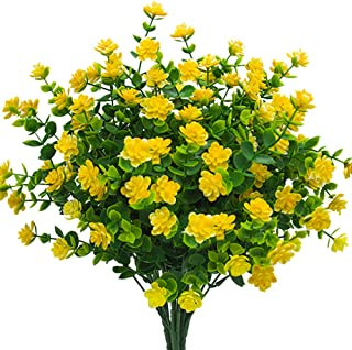 Artificial Flowers, Fake Outdoor UV Resistant Plants Faux Plastic Greenery Shrubs Indoor Outside Hanging Planter Home Kitchen Office Wedding, Garden Decor (Yellow)(Pack of 4)