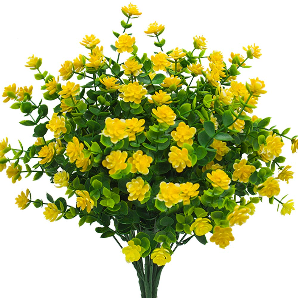 Artificial Flowers Fake Outdoor Uv Resistant Plants Faux Plastic Greenery Shrubs Indoor Outside Hanging Planter Home Kitchen Office Wedding Garden Decor Yellow Pack Of 4 Garden Outdoor