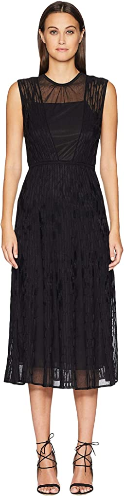Bicolor Relief Sleeveless Dress with Sheer Detail