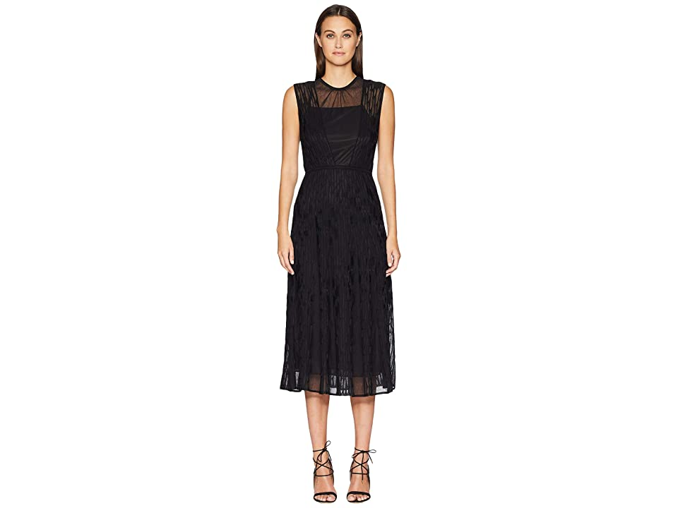 M Missoni Bicolor Relief Sleeveless Dress with Sheer Detail (Black) Women