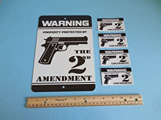 Security Signs Warning Property Protected By The 2nd Amendment Gun Metal 4 Window Stickers # 723