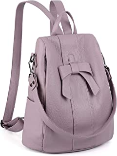 UTO Women ANTI-THEFT Backpack Purse PU Washed Leather Convertible Ladies Rucksack Bowknot Shoulder Bag