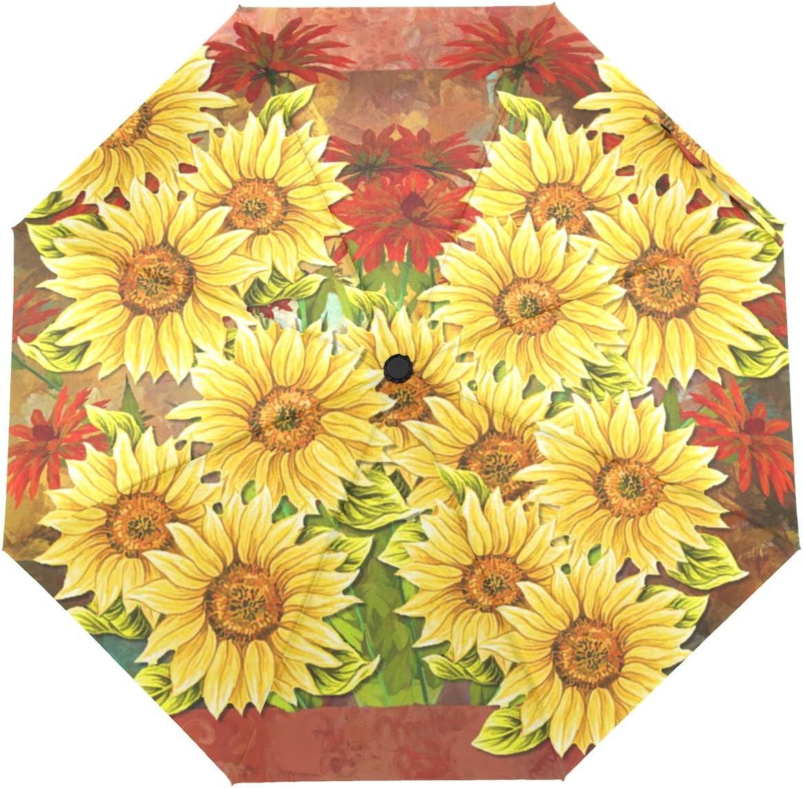 Direct stock discount OREZI Automatic Open Close Max 58% OFF Umbrella Folding Painting Sunflowers