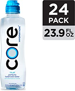CORE Hydration Nutrient Enhanced Water, Perfect 7.4 Natural pH, Ultra-Purified With Electrolytes and Minerals, Sports Cap For Convenience, 23.9 Fl Oz, Pack of 24