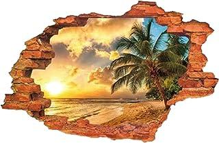 GoGoVolt Vinilo Adhesivo 3D Puesta de Sol en la Playa. 60 x 90 cm. Bonito y Cálido Paisaje de Verano. Efecto Ventana con Agujero de Ladrillos. Recreación del Paraíso.