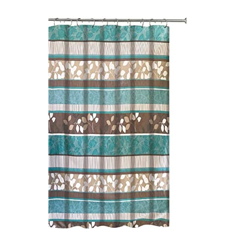 Aqua Blue Fabric Shower Curtain Primitive Striped Floral Design 70 By 72 Inches