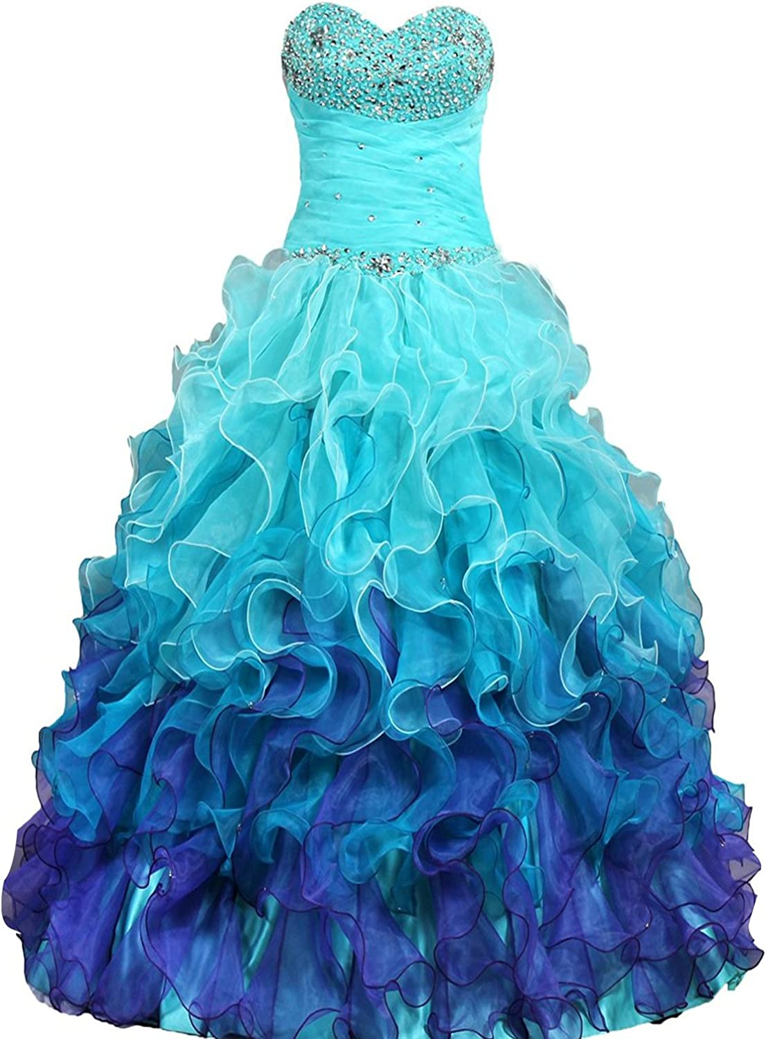 DianSheng Beaded Strapless Rainbow Quinceanera Dresses Ruffle Prom Gowns CK64