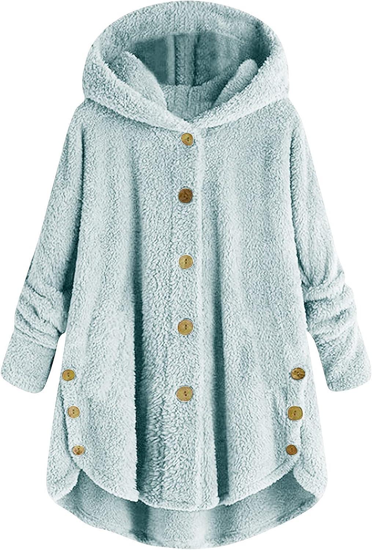 Women Baggy Double Side Plush Hooded Overcoat Fleece Button Down Hoodie Coat Jacket Outwear Sweatshirt w/Irregular Hem