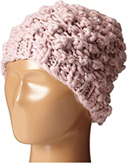 KNH3352 Chunky Yarn Beanie with Silver Sequin Thread
