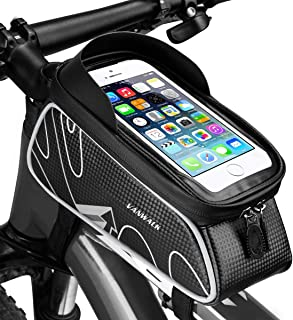 VANWALK Bike Front Storage Bag Cycling Top Tube Phone Bag Frame Handlebar Tool Bicycle Bag Zipper Waterproof Touch Screen Cellphone Mount Below 6.0