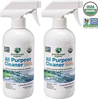 Greenerways Organic All-Purpose Lavender Scented Cleaner, Natural USDA Organic Non-GMO, Best Household Multi Surface Spray Cleaner for Home, Natural House Cleaner (2 Pack)
