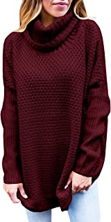 Farktop Womens Turtleneck Sweaters Oversized Long Sleeve Chunky Knit Tunic Plain Pullover Jumper Tops