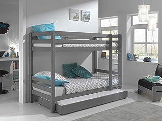 Vipack Lit superposé Pino 160 cm de hauteur avec tiroir de lit en pin massif laqué gris