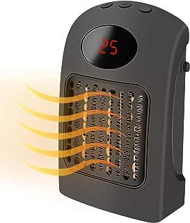 URESMAT Calentador de Ventilador Mini Calentador de Ventilador de Cerámica Eléctrico Portátil con Termostato Ajustable, Protección contra Sobrecalentamiento, Ajuste de Tiempo