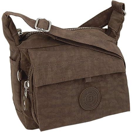 Moderne und zugleich sportliche Damen-Handtasche kleine Umhängetasche aus hochwertigem wasserabwesendem Crinkle Nylon (Braun)