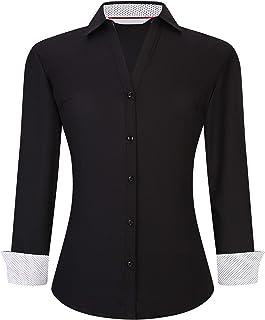 Womens Dress Shirts Wrinkle Free Regular Fit Long Sleeve Stretch Bamboo Work Shirt