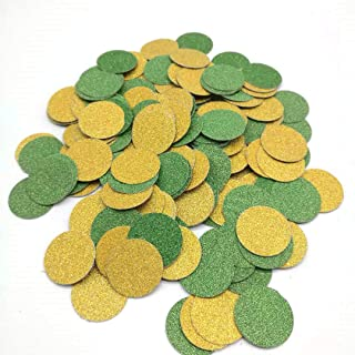 Hemarty Glitter Gold Green Confetti Circle Dots Confetti for Party Decorations, 1.2inches in Diameter, Pack of 200