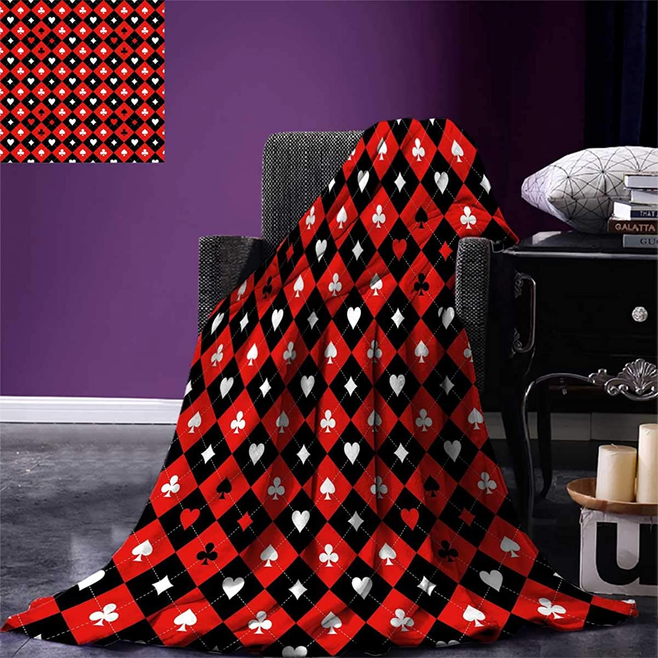 Poker Tournament Decorations,Survival Blanket,Card Suit Chess Board Classic Checkered Pattern Symbols,Print,Red Black White,Size:50
