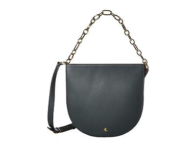 LAUREN Ralph Lauren Super Smooth Leather Sawyer 25 Shoulder Medium (Racing Green) Handbags