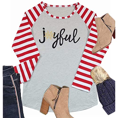 2e6de5c6b07 Women's Christmas Joyful Snowflake Print Long Sleeve Striped Splicing  Baseball T-Shirt Blouse Tops