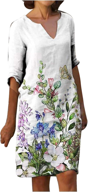 Eduavar Summer Dresses for Women, Womens Vintage Floral Pinted 3/4 Sleeve V Neck Casual Loose Knee Length Beach Dresses