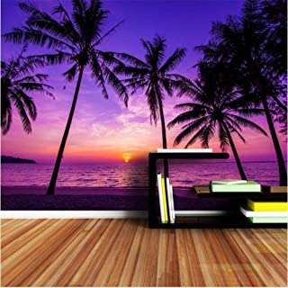 Httaxq Wallpaper 3D Photo Wallpaper Palm Coco Tree Sea Beach Sunset Wallpapers for 3 D Living Room Household Wall Paper@300210