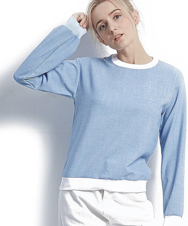 Spring women's bluee loose longsleeved trend blouse
