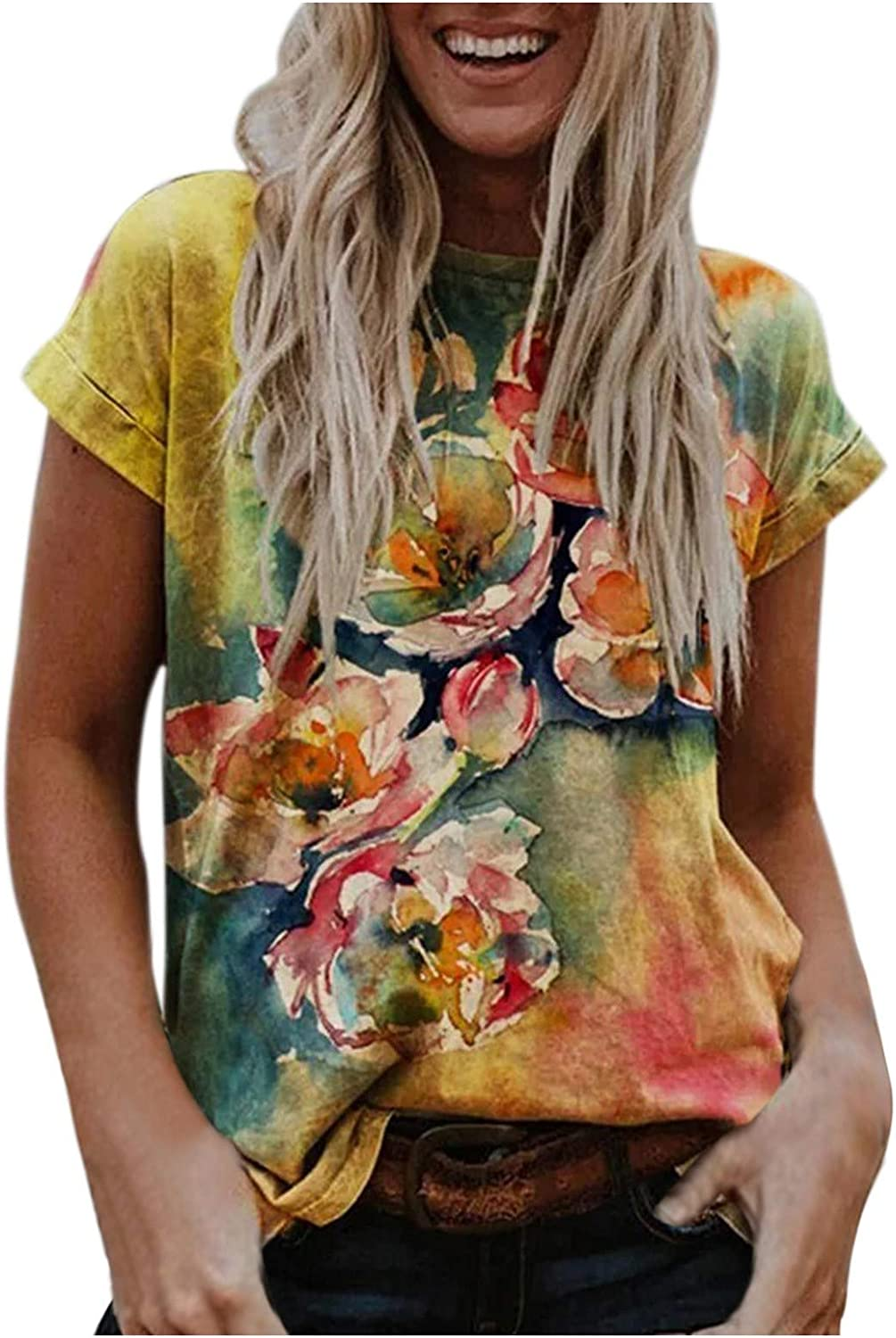 POTO Womens Short Sleeve Shirts Casual Tops for Women Vintage Graphic T-Shirt Fashion O-Neck Tees Summer Tunic Blouses