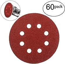 HIFROM 60 Pieces 8 Holes Sanding Discs, 5 Inch Hook and Loop 40 Grit Sandpaper Assortment for Random Orbital Sander Grinder Pads