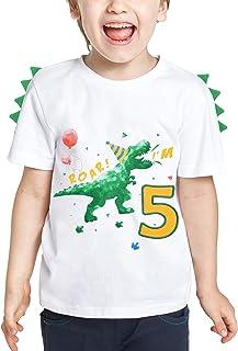 Camiseta infantil de 5 cumpleaños con diseño de dinosaurios