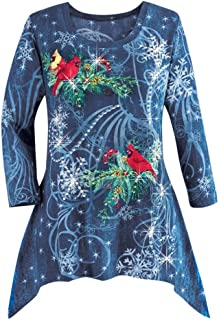YOCheerful Women's Christmas Long Sleeve Shirt Holiday Tee Winter Top Blouse Plus Size Bar Party Shirt Jumper Tunic (A-Blue,US-3XL/label-4XL)