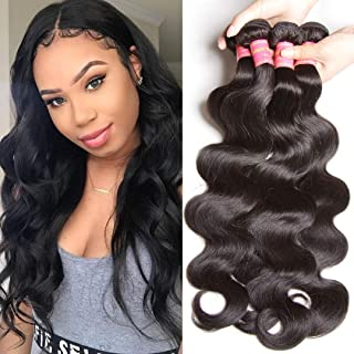 Donmily 10A Brazilian Virgin Hair 3 Bundles of Body Wave 100% Unprocessed Remy Human Hair Natural Color 95-100g/pc (12 14 16)