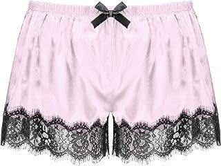 CMM-Y Men Satin Shorts Sleepwear Elastic Waistband Lace Pants Nightwear Birthday Gift