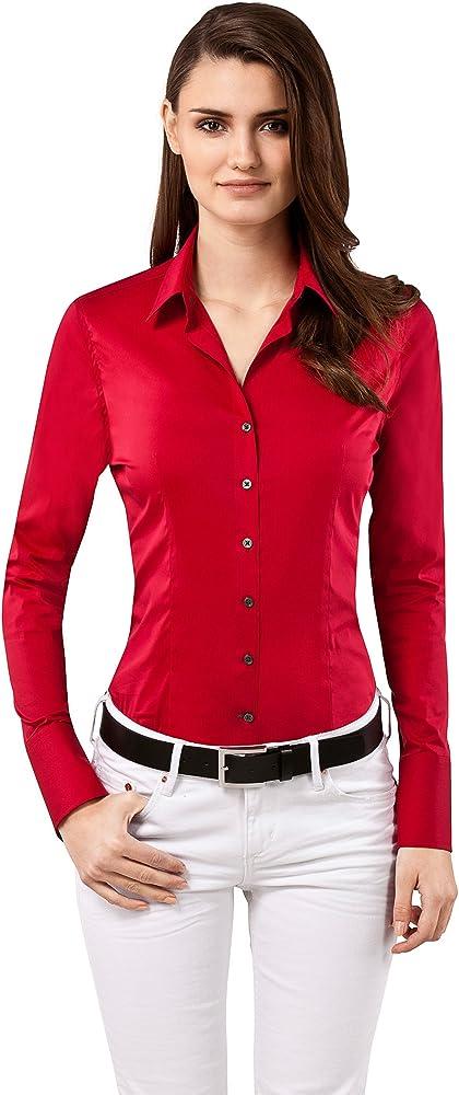 Vincenzo boretti, camicia-blusa per donna elegante, slim-fit, elastica-stretch, 72% cotone, 24% poliammide, 4% 10010738_2915C