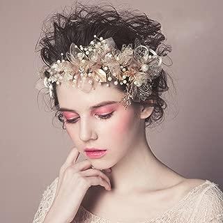 "Bocianelli Wedding Headpieces Flower Wreath, Pearls Bridal Headband Tiara, Crystals Hair Accessories for Bride Bridesmaid, Gold (7.9"" x 3.5"")"