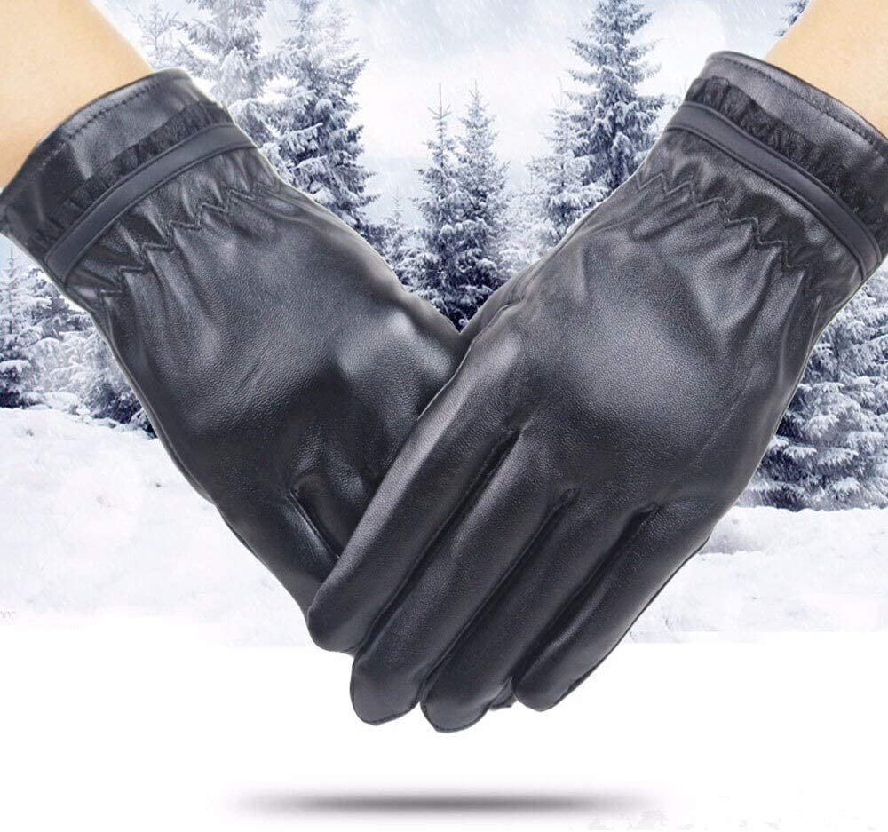 FASGION Women Lady Winter Gloves Warm Leather Gloves Driving Cycling Riding Soft Lining Gloves Thick Wrist Mitten Windproof guantes 2019 (Color : B, Gloves Size : One Size)