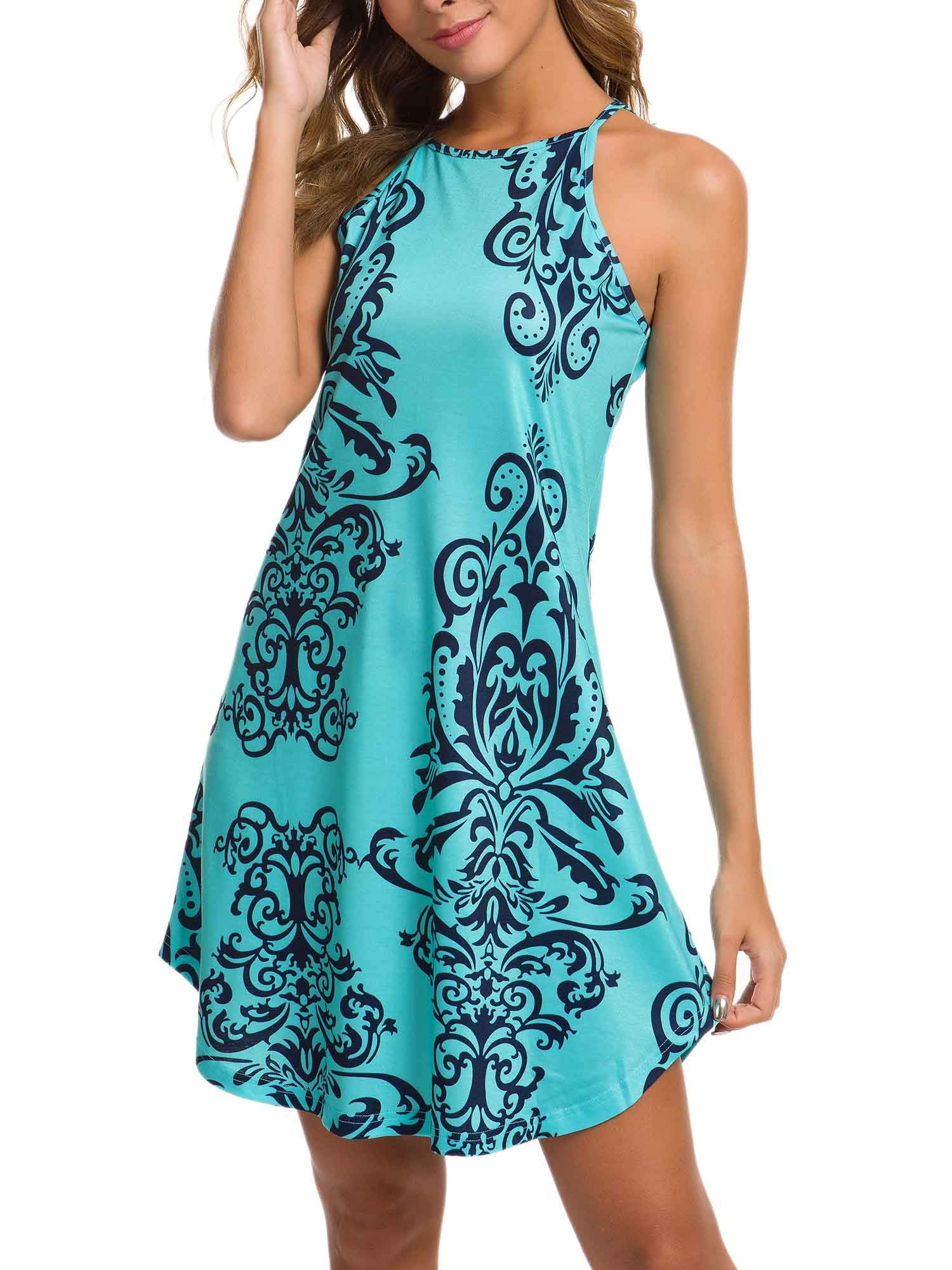 Available at Amazon: GUBERRY Women's Halter Neck Floral Casual Summer Sleeveless Midi Beach Dress