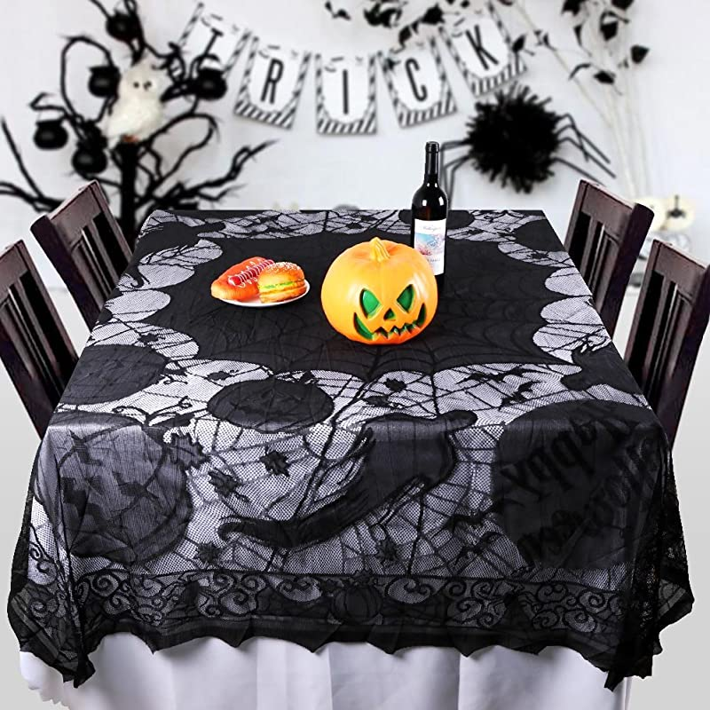 PartyTalk Spider Web Lace Tablecloth Rectangular 80 X 60 Inch Black Halloween Tablecloth Ghost Bat Pumpkin Gothic Halloween Party Home Decorations