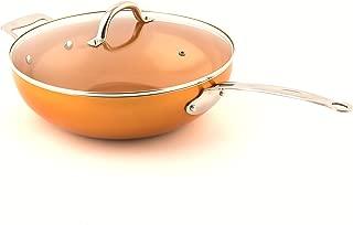 MasterPan Copper tone 12-inch Ceramic Non-stick Wok with Lid
