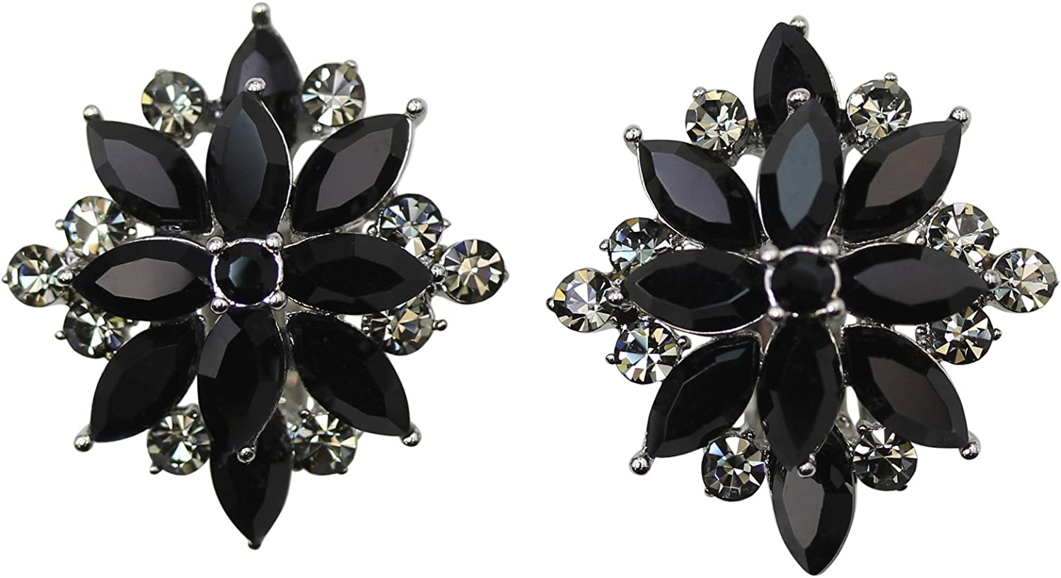 Faship Gorgeous Crystal Rhinestone Floral Clip On Earrings