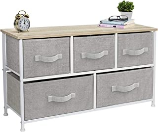 Sorbus Dresser with Drawers - Furniture Storage Tower Unit for Bedroom, Hallway, Closet, Office Organization - Steel Frame, Wood Top, Easy Pull Fabric Bins (5-Drawer, Beige)