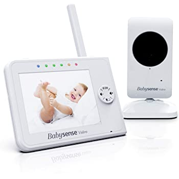 Upgraded - Babysense Video Baby Monitor 3.5 Inch Screen - White - Featuring Baby Camera with Night Light, Infrared Night Vision, Talk Back, Room Temperature, Lullabies and Super Long Range