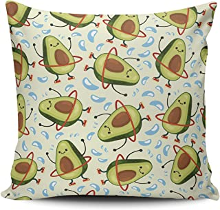TBUFYU Throw Pillow Cover Avocado Cute Fruit Doing Exercises Hula Hoop Eating Healthy Decorative Pillowcase Cushion Case Double Sided Design Printed Square 24X24 Inch (Set of 1)
