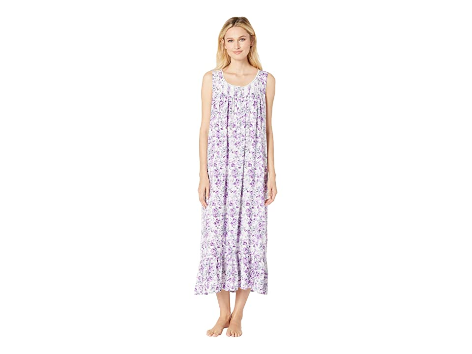 Eileen West Ballet Woven Floral Nightgown (White Lilac Floral Dot) Women