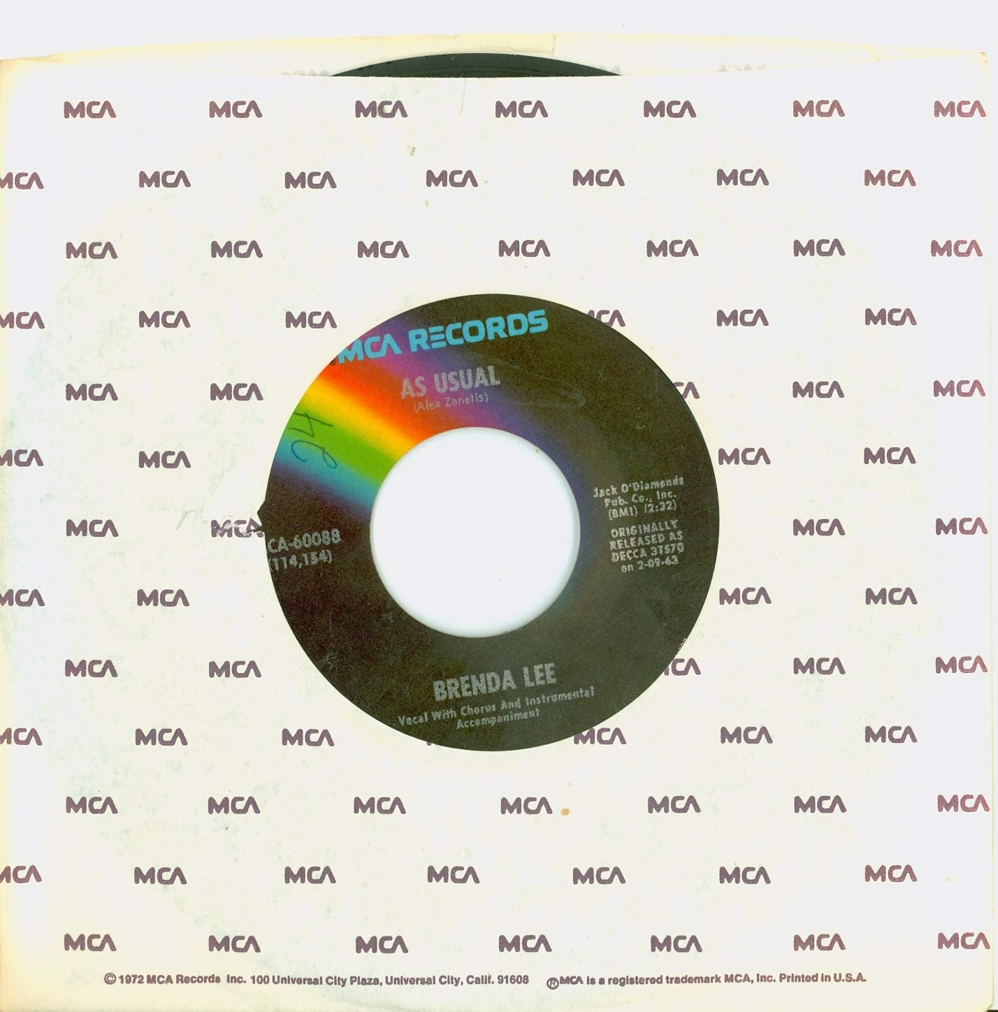 As Usual Too Many Rivers - Indianapolis Mall Records MCA Brenda Excel Lee Memphis Mall 1973