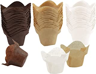 Ruisita 150 Pieces Lotus Baking Cups Paper Cups Cupcake Muffin Liners Wrappers, Brown, Natural and White (150, Brown, Natural and White)