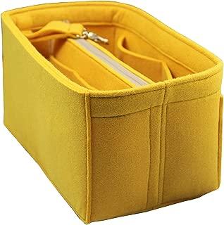 JennyKrafts Purse Insert (3mm Felt, Detachable Pouch w/Metal Gold Zip), Tote Bag Organizer Pockets