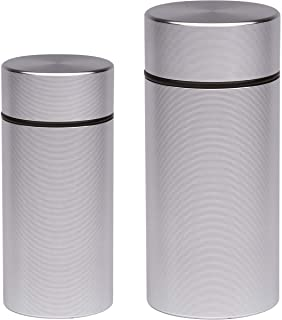 Stash Jar - Airtight Smell Proof Aluminum Herb Container Waterproof, Scent Lock Odor Protection. Beautiful Discreet Metal Design. Store Herbs and Spices Securely. Perfect Size for Travel … (1, Silver)