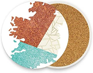 Patchwork Map Of Ireland Abosrbent Ceramic Coasters for Drink with Cork Base,Coaster for a variety of Cups,Pack of 1 4 Inch
